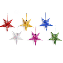 DIY Party Supplies 30cm Laser Paper Stars Garland Star Decoration Christmas Tree Ornaments Wedding/Birthday/ Decoration 1PC(China)
