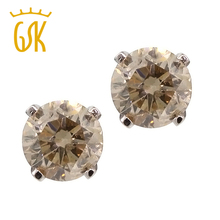 GemStoneKing Genuine 14K White Gold Luxury Jewelry 1/3 Ct Round Cut Champagne Diamond Stud Earrings For Women Engagement(China)