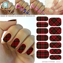 Rocooart KG012A Water Transfer Foils Nail Art Sticker Scarlet And Black Plaid Manicure Decals Minx Nail Decorations Patch Cheap