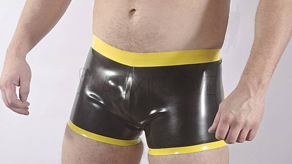 Sexy-Latex-Rubber-Mens-Shorts-Waistband-and-Edge-Trim-Customize-any-Color -1