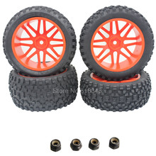 4Pcs Front / Rear RC Buggy Tires & Wheel Rims Hex 12mm For 1/10 Off Road HSP HPI Redcat Traxxas Axial Tamiya Himoto Racing