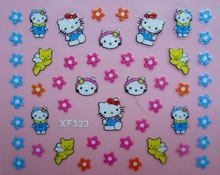 Mix Order: $0.7 XF323 Free Shipping Brand 3D Design Tip Nail Art Hello Kitty Nail Stickers Decals Carving Nail Art Decorations