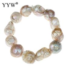YYW Freshwater Cultured Pearl Bracelet Freshwater Pearl Baroque multi-colored 12-15mm Sold Per Approx 7.5 Inch Strand