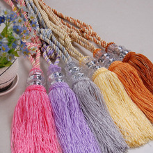 Hanging Tassel Curtain Ties Clear Weighted Balls and Braided Twisted and Knotted Fibers Home Decor Curtain Accessory 9 Colors F