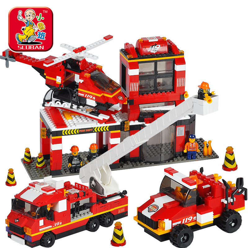 Model building kits compatible with lego city fire center 447 3D blocks Educational model &amp; building toys hobbies for children<br>