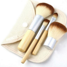 Mileegirl 4pcs Make up Brushes Set, Natural Bamboo Handle Blending Makeup Brush, Hot Cosmetics Tool Kit Powder Brushes For Women