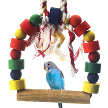 Wooden Parrot Toys Pets Budgie Bird Round Swing Rope Ladder Bird Toy