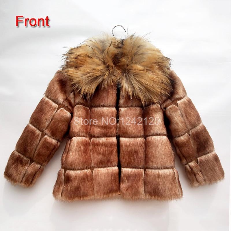 Autumn winter children kids boy girl chequer faux Fox coat raccoon rabbit faux fur coat jacket clothing outerwear coats overcoat<br>