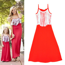 Family Matching Outfits Mother And Daughter Sun Dresses Baby Girls Fashion Tassel Clothes For Kids Parents Summer Beach Look Z1(China)