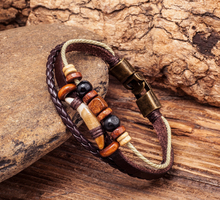 G276 Brown Cool Surfer Beach Leather Hemp Wood Beads Tribal Tooth Bracelet Wristband Cuff Men's