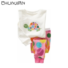 CHUNJIAN baby girls colored turtle embroidery minions sleepwear children animal dots pajamas cars hello kitty pajamas for 2-7T