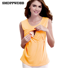 SMDPPWDBB Elastic Cotton Nursing Tank Tops Summer Breast Feeding Vest Clothes Pregnant Women Maternity Breastfeeding Shirts Tees(China)