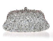 Top Selling Silver Totes Party Evening Bag Women Beaded Sequined Wallet Style Chain Handbag Clutch Banquet Mini Bag 03396-3(China)