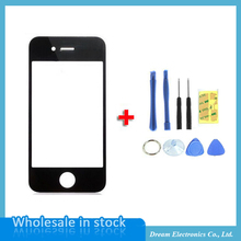 High Quality Black White Front Glass Screen For iPhone 4 4S 4G Replacement Outer Lens for Lcd Screen Digitizer with Opening Tool