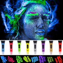 IMAGIC Florescent Light Face & Body Paint Henna Tattoo Oil Face Painting Art Halloween Glowing Paint Glow in The Dark