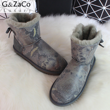 G&Zaco Luxury Women's Sheepskin Boots Natural Wool Fur Snake Bandage Back Bow  Ladies Genuine Leather Shoes New Fashion Boots