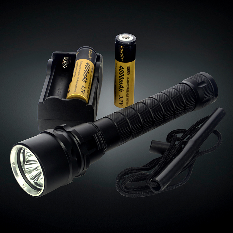 4000Lm 30W 100m Depth 3X CREE XML T6 LED Diving Flashlight Waterproof Underwater Flash Light for Diver + Charger &amp; 2X Batteries<br>