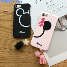 ZHBYuLin Cute Mickey Minnie Head Cartoon Couple Hard Plastic Cases For iphone 6 6S Plus 7 7 Plus 8 8 Plus Star Tassel Coque(China)