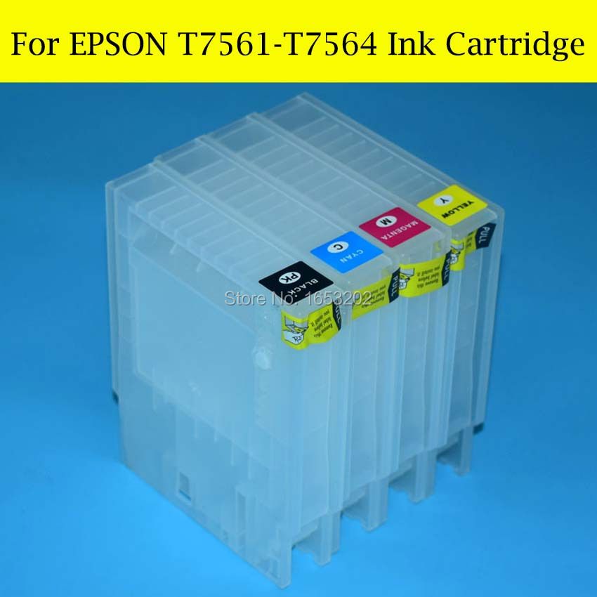 4 Pieces/Lot Refill Ink Cartridge For Epson T7561 T7564 For EPSON WF-8010 WF8010 WF-8090 WF-8510DWF WF-8590 Printer<br><br>Aliexpress