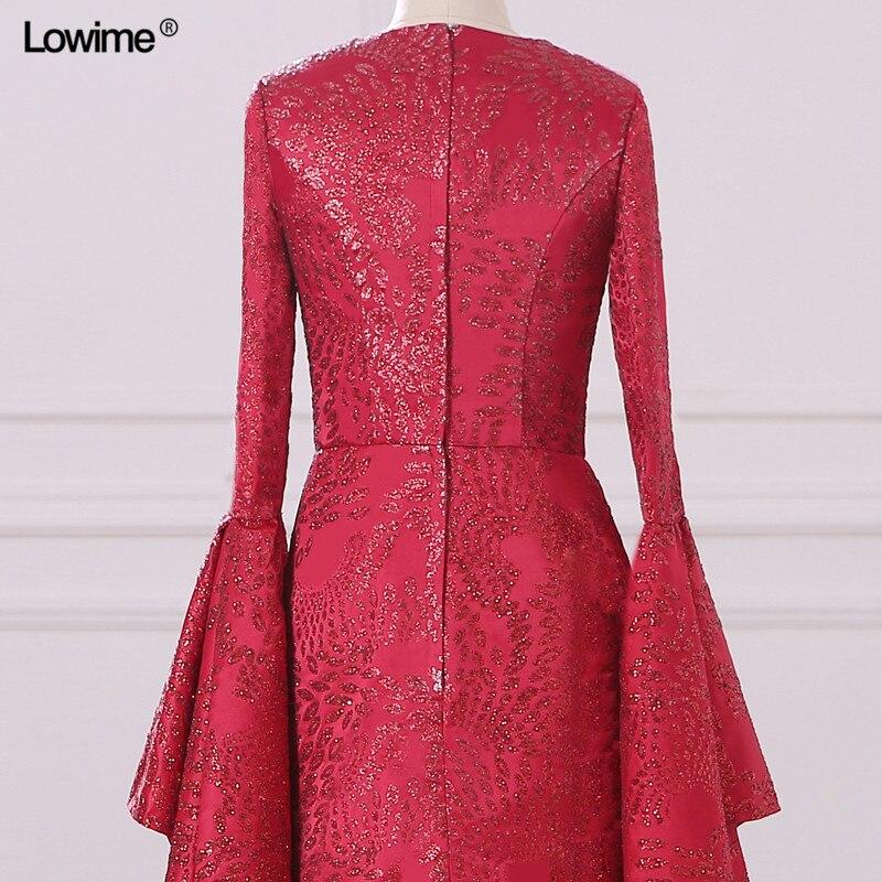 Mermaid Muslim Arabic Evening Dresses Scoop Red Custom Made Appliques Sequins Robe De Soiree Long Prom 2018 (6)