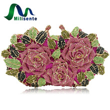 Milisente Women Flower Evening Bags Wedding Clutch Luxury Crystal Clutches Diamond Party Bag(China)