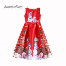 BunniesFairy 2017 New Arrival Snowman Cartoon Print High Waist Red Vest Dress Christmas New Year Party Wear Vestidos de Fiesta
