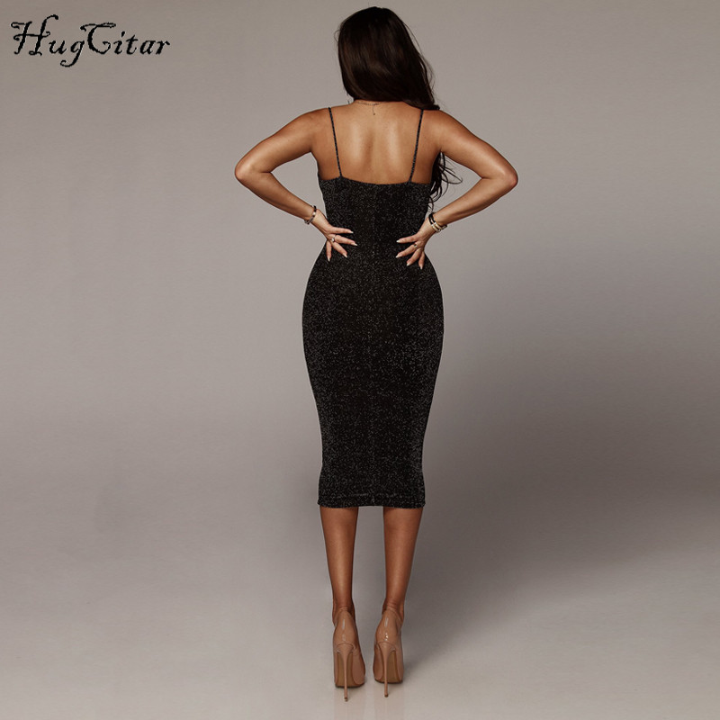 Hugcitar spaghetti straps slash neck backless sexy long dress 18 women high waist bodycon elegant fashion party dresses 10