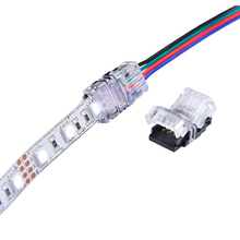 5PCS RGB LED Strip Connector 4 Pin 5050 10mm Colorful LED RGB Tape Light Connector Non-Waterproof IP20 Strip to RGB Wire Use