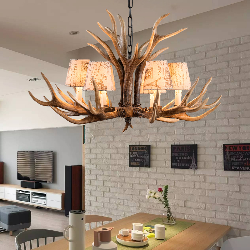 Europe E14 6 8 10 Heads American Deer Horn Antler Pendant Lamp Resin Antler Lampshade Parlor Hall Decor Suspension Luminaire B2