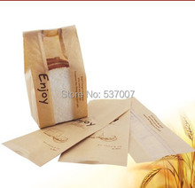 50pcs Medium Size 30x12x9cm Toast Bread Paper Cake Bags Paper Kraft Bag with Window for DIY Baking Bakery Bread