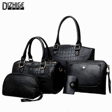 Sacoche Femme 2016Autumn Alligator Branded Handbags For Women Fashion Leather Women Shoulder Bag Lady Composite Red Tote Bag5Pcs