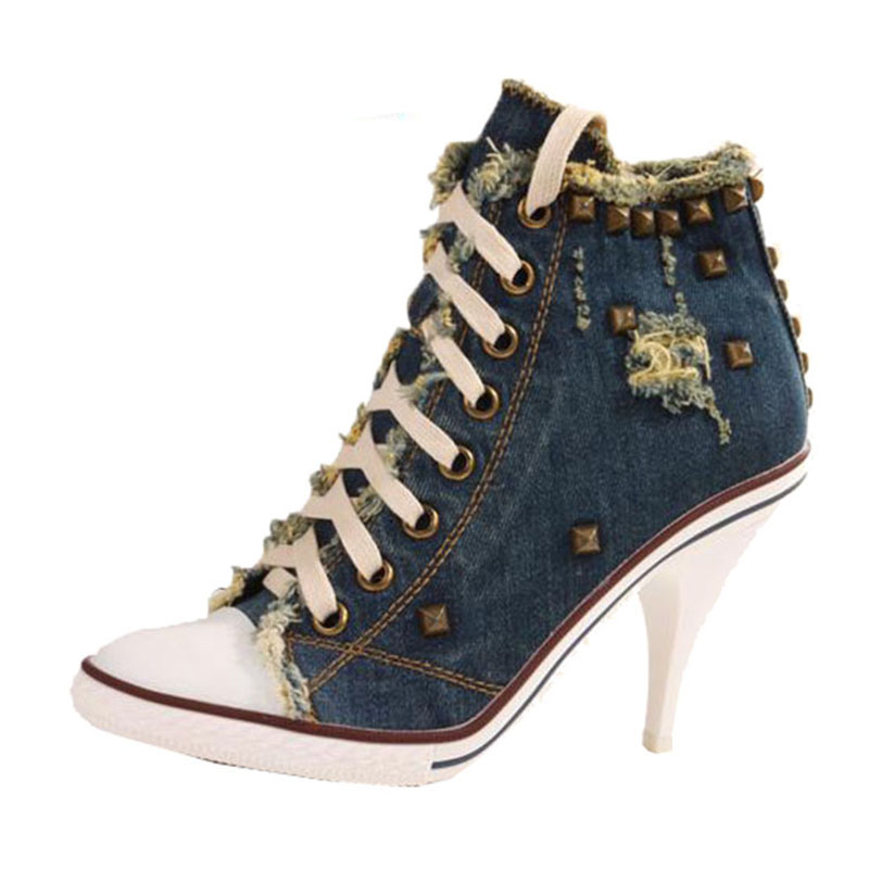 new 2017rivets shoes Fashion shoes Female sexy high-heeled shoes Leisure denim canvas shoes Club super high heels