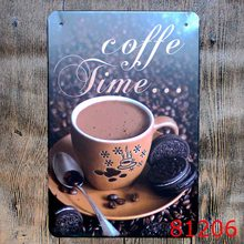 Cafe Time Wall Sticker Metal Tin Sign Iron Antique Tin Painting Coffee House DECOR Coffee Shop Sticker 20X30CM(China)