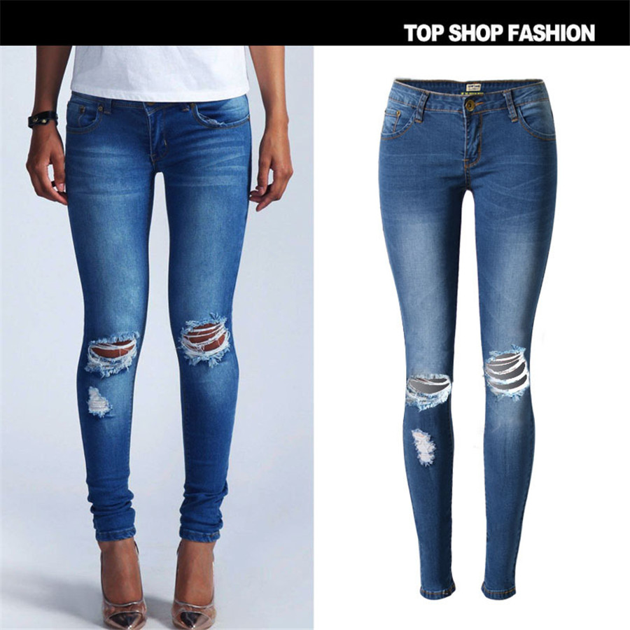 Women Jeans 2017 Brand Casual High Street Summer Fashion Mid Waist Ripped Slim Knee Hole Pencil Denim PantsОдежда и ак�е��уары<br><br><br>Aliexpress
