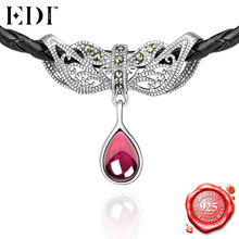 EDI Fashion Punk 925 Sterling Silver Collar Choker Necklace Black Gothic Vintage Marcasite Pink Ruby Gemstones Pendant Necklace(China)