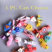1pc Kawaii Anime Wood Clips Photo Paper Postcard Placed DIY Craft Clips School Office Binding Supplies Calendar Bookmark Decor(China)