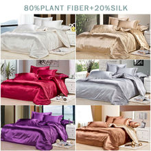 Luxury Silk 4Pcs Single/Twin/Double/Full/Queen/King Size Bed Quilt/Duvet Cover Set Solid White Wine Gray Silver Champagne Brown