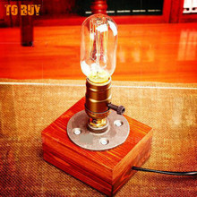 Retro Coffee Shop Table Lamp Wood Vintage Desk Lamp Dimmable 40w Edison Bulb 110v 220v Bedroom Bar Table Light Desk Light Wooden