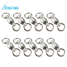 Bobing 10pcs/lot 0-7# Stainless Steel Flexible Rotation Ball Bearing Fishing Rolling Swivel With Solid Ring Fish Hook Connector