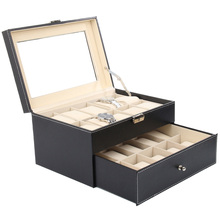 Practical Faux Leather Watch Case Storage Display Box Organiser Jewelery Glass TopMaterial & Size:20 Grid Leather