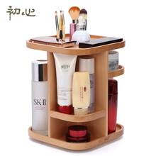 A Wooden 360 Degree Rotating Cosmetic Storage Box Dressing Table Top Shelf Wooden Skin Care Product Storage Cabinet 81453