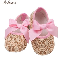 2017 new Baby Toddler Girls Prewalker Soft Sole Anti-Slip lace-up Shoes high quality(China)