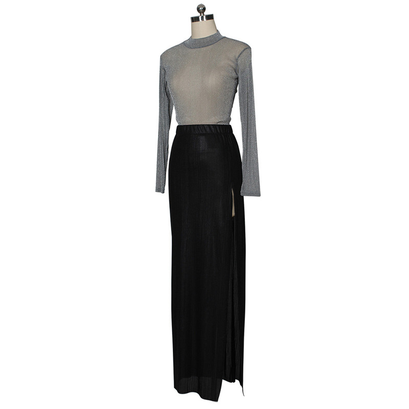 women shiny silver tops and high slit skirt set-4