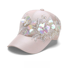 2017 Summer women's baseball caps hats glitter fashion flower sun hats black breathable caps big girls street style snapback cap
