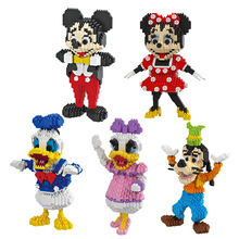 HC Magic Blocks Minnie DIY Building Bricks Cute Cartoon Auction Figures Mickey Model Kids Toys Anime Juguetes Girls Gifts 9050