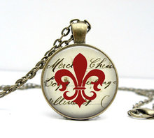 (1 piece/lot) Charm Fleur de Lis Pendant necklace Red flower Symbol jewellery Bronze plated Art picture pendant gift for her