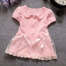 Summer Casual Girls Lace Bow Cardigan Baby kids babe Children Princess Short Sleeve Dress Tops S2830(China)