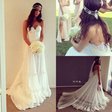 Barcelona 2016 Custom Made long Simple Wedding Dress online Store White Sweetheart Romantic Beach Wedding Bridal Gowns