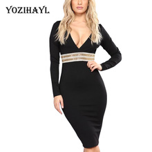 Yozihayl Sexy Party Night Club Embellished Dress Women Long Sleeve Deep V Neck Midi Dress Elegant Bodycon Bling Knee Length Dres(China)