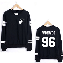 Kpop seventeen member name printing o neck sweatshirt men women striped sleeve pullover hoodie for spring plus size sudaderas